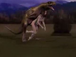 Prehistoric Creature Fucked Brunette Milf