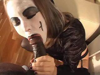 Amateur Halloween Homemade Interracial Blowjob and Facial