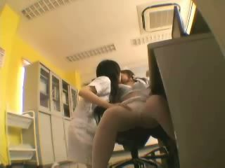 Japanese Nurse Lesbians at Night Shift in Hospital