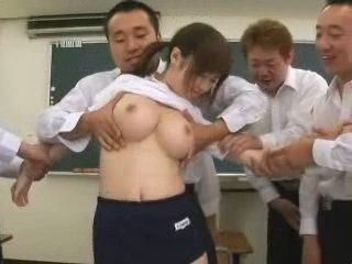 Busty Schoolgirl Gets Violated By Bunch Of Classmates At School