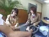 Two Student Girls Pleasuring Teacher With Vacum Cleaner In Classroom