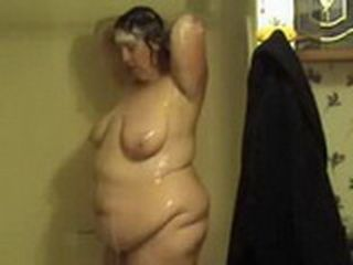Naked Fatty Gets Caught Showering By Hidden Cam