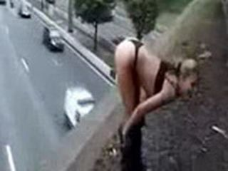 Naked Teen Dancing On The Top Of Freeway