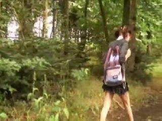 Schoolgirl Gets Fucked In Woods