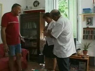 Father and Grandpa Convinces Mature Maid To Fuck Her