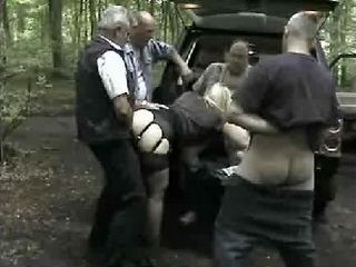 Mature Chubby British Hooker Gangbanged In Woods By Bunch Of Old Guys