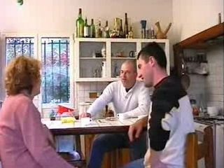 French Granny Fucks With Young Guy And His Father