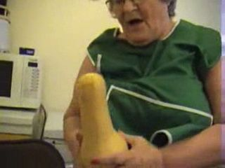Big Booty Granny Play With A Squash Dildo