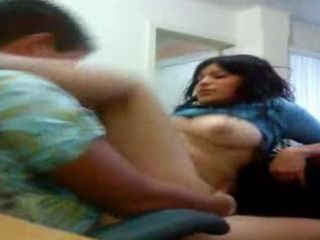 Hot Latina Teen Riding Her Older Boss In His Office