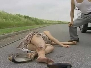 Poor Japanese Woman Hit by Car and Violated by Car driver