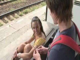 Young Hottie Fucks a Random Guy Right At The Train Station