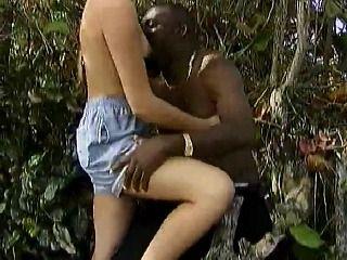 Hot Female Tourist Fucks a Native Black Man in the Woods