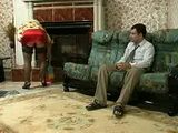 Russian Attractive Blonde Granny Fucked By Much Younger Man In Living Room