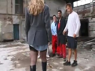 Busty Blonde Gangbanged By Huge Group of Guys