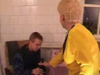 Teen guy Fucked Blonde Old Lady After Few Drinks