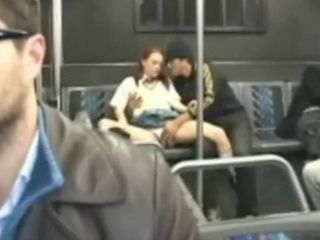 Redhead Teen Fingered and Threesome on a Public Train