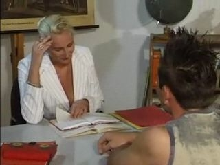 German MILF Teacher Fucks Younger Male Student in Classroom after Class