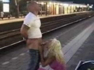Public Blowjob and Sex at Train Station