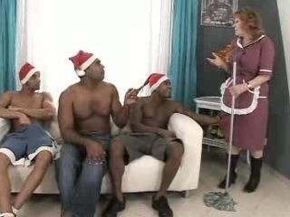 Granny is Fucked by Three Black Santa Claus Guys