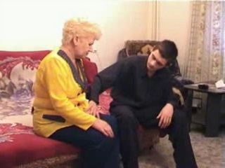 Granny is Fucked by a Younger Guy in her Living Room