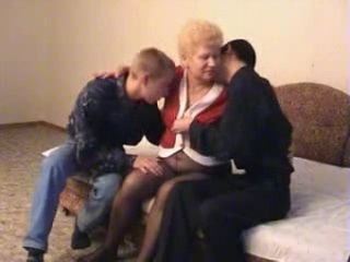 Granny is Fucked by Two Young Neighbors Friends