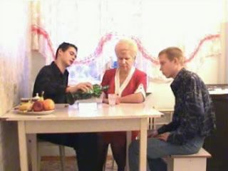 Granny is Fucked in the Kitchen by Two Young Guys after Drink
