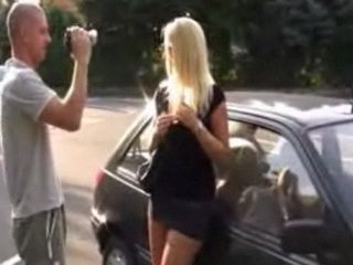 Blonde Gives Blowjob in Public Parking Lot