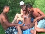 Hardcore Interracial Foursome Fuck in the Forest