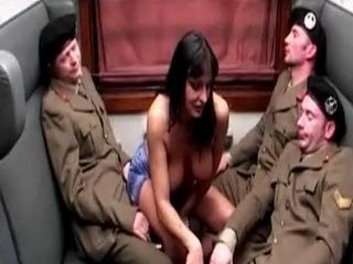 Busty Girl Fucks the Soldiers Or Else