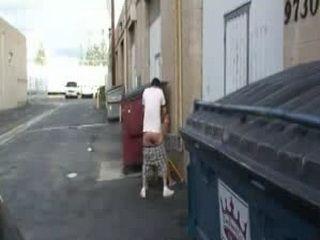 Girl Fucked Beside Bins in an Alley