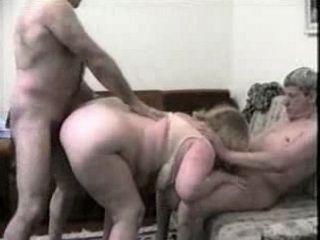 Fatty Granny Fucked by Two Neighbor Guys