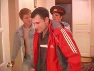 Russian Mature Cop Fucks with Two Young Guys