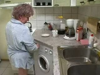 Russian Granny Gangbanged in the Kitchen by Young Guys
