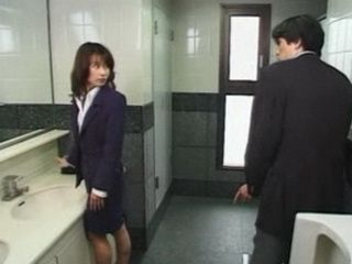 Japanese MILF Jerking Him Off in the Bathroom