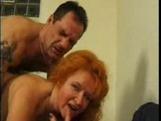 Orange Hair Granny Fucks With Younger Guy