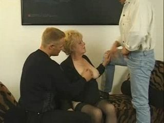 Saggy Tits Granny Is Fucked By Two Guys