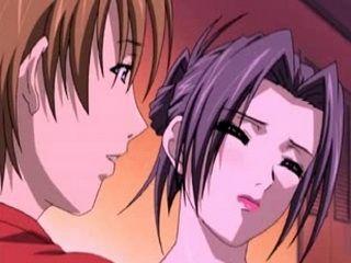 Horny Hentai Brunette Doing Blowjob and Masturbate