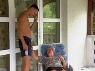 Granny Fucks Shy Boy On Balcony