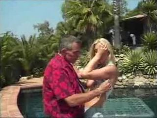 Old Pervert Fucks Blonde Teen By The Pool