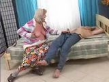 Sleeping Grandpa Awaken and Fucked By Old Horny Granny