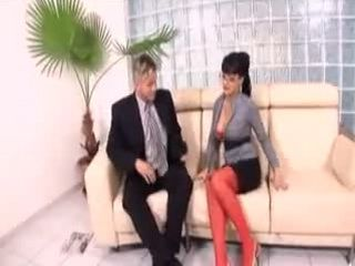 Sexy Secretary in Red lingerie fucks her Boss