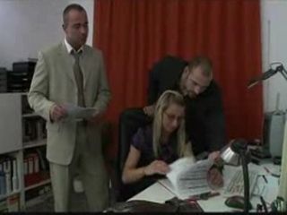 Two Guys and a Girl Fuck Each Other in the Office