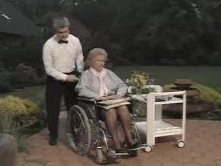 Bad Granddaughter Use Chance To Fuck with Two Guys while Granny Enjoy in Yard