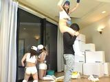 Three Naughty Apartment Decorator Girls Fooling Around With Their Boss and Fuck Him At The End