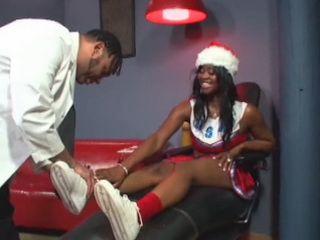 Ebony Cheerleader In Santa Claus Costume Gets Fucked By Doctor At School