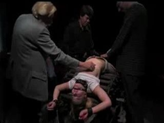 Blonde flogged and mouth fucked in group