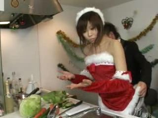 Japanese MILF In Santa Claus Outfit Groped and Gangbanged By Guests at Christmas Eve