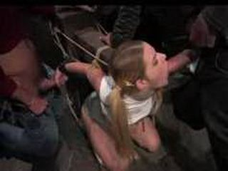 Bound to wooden device blonde gives many blowjobs