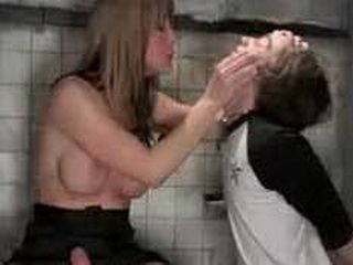 Busty tranny fucks handcuffed guy in toilet