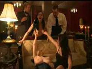 Orgy with bound slaves in the upper floor